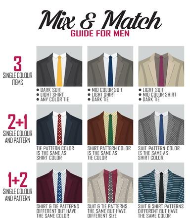 mezcla patrón y la guía de la altura de los hombres traje y los zapatos. variaciones de concordancia de color adecuados y apropiados para diversos eventos, formal, negocio, casual y otra. Ilustración de vector