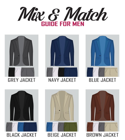 Color mix and match guide for men jacket and pants. Suitable and appropriate color match variations for various events, formal, business, casual and other.