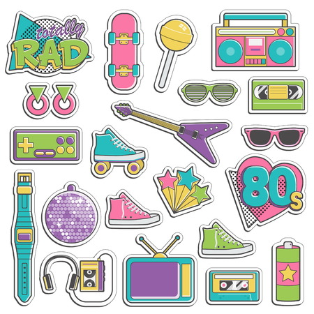 rad: Collection of vintage retro 1980s style items that symbolize the 80s decade fashion accessories, style attributes, leisure items and innovations.