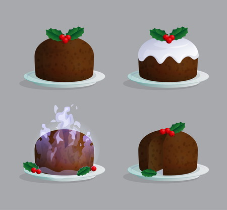 vanilla pudding: Traditional Catholic Christmas pudding on the plate illustration set with sugar icing, berries an leaves, flaming sauce, cut and uncut.