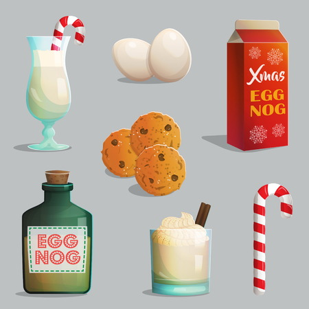 eggnog: Traditional Catholic Christmas treats, egg nog bottles and glasses with cream, cinnamon, festive candy cane, chocolate chip cookies.