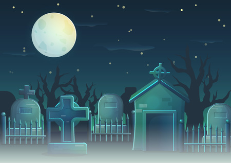 A collection of items spooky graveyard items and design elements for game and app design. Gravestone, cross, full moon, cemetry fence, crypt.