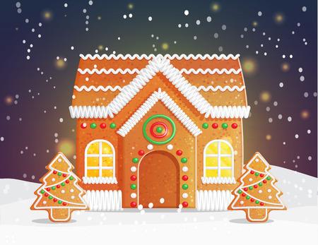 Ontbijtkoek huis Kerstnacht scène kronkelen, besneeuwde nacht met sterren en traditionele peperkoek gebouw met gezellige licht en feestelijke ornament treess. Stockfoto - 67494946