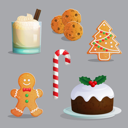 Traditional Catholic Christmas treats, egg nog glass with cream and cinnamon, festive candy cane, chocolate chip cookies, gingerbread ornament, traditional pudding.