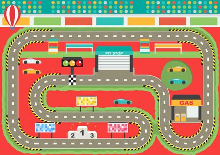 Alfombrilla de carreras de coches deportivos para niños. Actividad y entretenimiento. Instalaciones de campeonato de competición de carreras, carretera interminable, entorno de estadio. Ilustración de vector