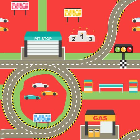 Seamless le sport de course de voiture tapis de jeu de piste pour l'activité des enfants et de divertissement. Racing concurrence des installations de championnat, route sans fin, de l'environnement du stade. Banque d'images - 67758838