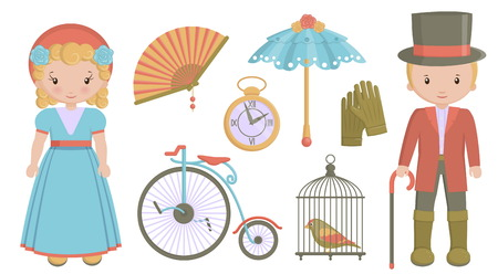 A collection of vintage victorian era items and costumes. Flat illustrations of personal accessories, everyday use items and innovations that symbolize 19th century culture.