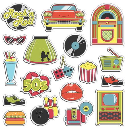 Colección de pegatinas de época de estilo retro década de 1950 que simbolizan los accesorios de moda 50s década, los atributos de estilo, artículos de ocio e innovaciones. Ilustración de vector