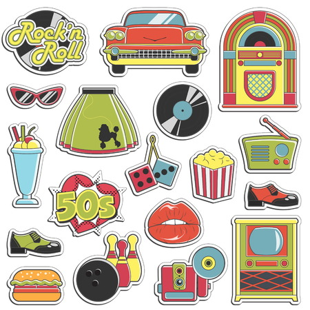 Collection of vintage retro 1950s style stickers that symbolize the 50s decade fashion accessories, style attributes, leisure items and innovations. Ilustração