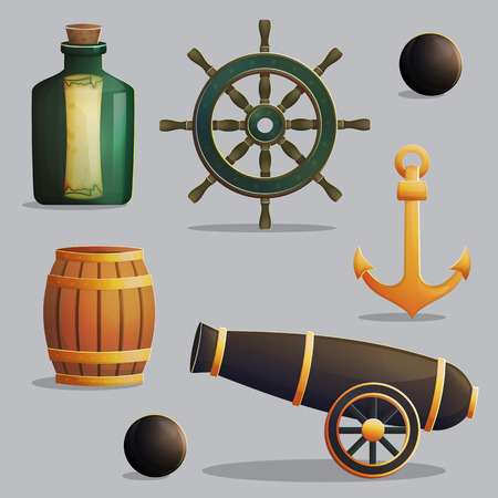 gunpowder: Collection of pirate items for marine journey navigation and treasure hunting. Accessories for treasure hunting trip, vessel parts, gunpowder barrel, cannon. Game and app ui icons.