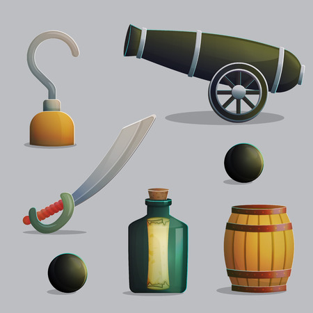gunpowder: Collection of pirate items for marine journey and treasure hunting. Accessories for treasure hunting trip, hook, sber, gunpowder barrel, cannon. Game and app ui icons.