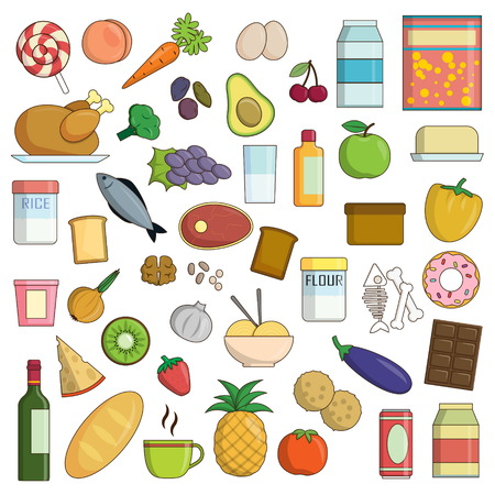 raisin: XXL collection of flat food and drink nutrition icons. Fruit and vegetables, dairy and grain products, meat, poultry and other icons for healthy nutrition balance. Illustration