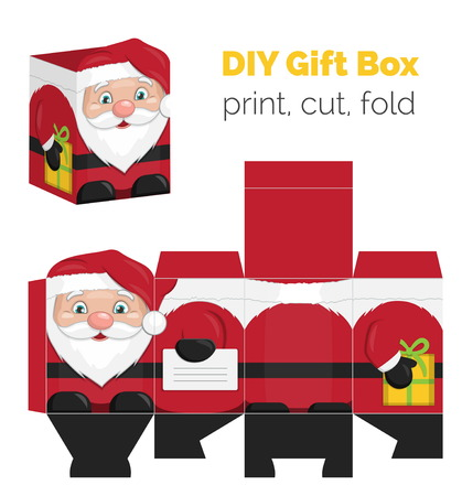 unfold: Lovely DIY handmade Christmas Santa Claus shaped gift box for small presents, unfolded box dieline. Print it on thick paper, cut out, fold according to the lines. Illustration
