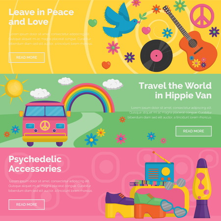 lava lamp: A collection of vintage retro 1960s hippie style header banners. Bright illustrations of travelling in hippie van, household innovations and appliances, personal items and accessories. Illustration