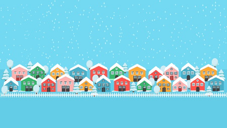 Winter city lane with bright houses, white fence and tress, falling snow fwstive landscape. Modern background decoration pattern wallpaper. Illustration