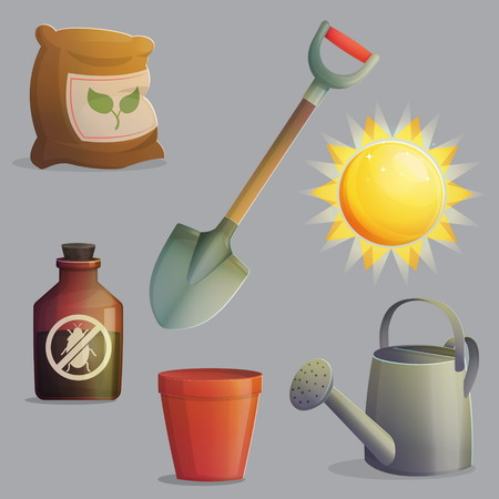 play poison: A collection of planting, gardening and agriculture equipment and accessories. Bright shining sun, spade for digging, anti-insect and fertilizer, flower pot. Game and app ui icons. Illustration