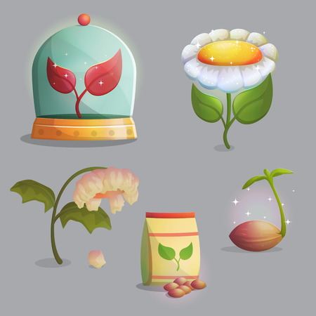 A collection of objects showing flower growing stages, seeds and a paper bag, growing sprout, flowering and fading withering plant. Artificial ecosystem in a glass can. Game and app ui icons.