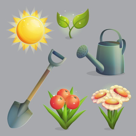 A collection of planting, gardening and agriculture equipment and plants. Bright shining sun, spade for digging, watering pot, daisies and fruit and berries. Game and app ui icons. Illustration