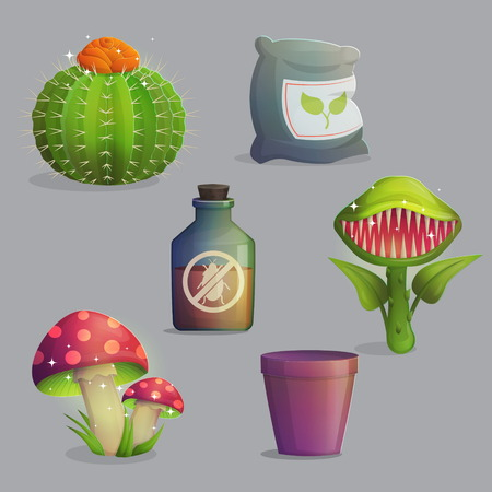 play poison: A set of magic fantasy alien plants and flowers. Mystery mushrooms and fruit, venus flytrap predator, cactus with flower and cute daffodils. Game and app ui icons.