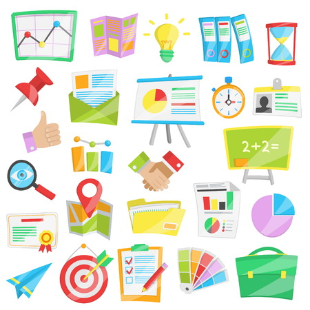 analisys: Collection of bright cartoon vector illustrations for presntation, business report and data analisys, startup conference and meeting. Stock Photo