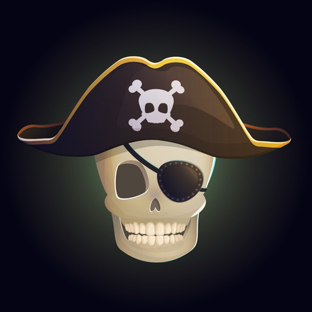 scull: Illustration of a spooky smiling human pirate hook ghost scull in a pirate hat with scull and bones and eye patch on eye. Design element for web, decoration and print. Illustration