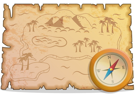 Collection of pirate items for treasure hunting journey and navigation. Accessories for treasure hunting journey, compass, ancient map. Game and app ui icons.