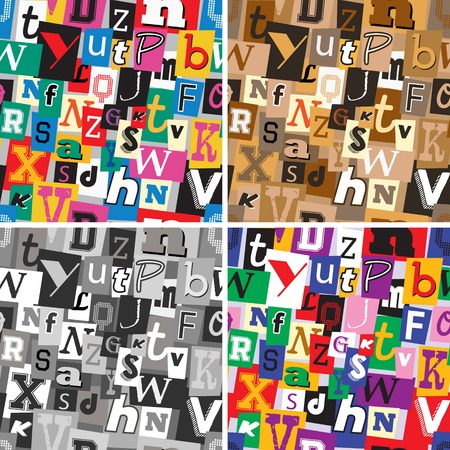 A set of vibrant multicoloured, monochrome and sepia kidnapper ransom note seamless patterns. Fun background with letters for decoration, background and print.