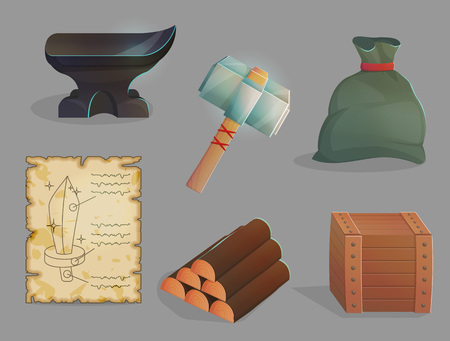 Blacksmith workshop crafting tools, items and materials. Anvil and iron hummer, wood logs, sword blueprints. Game and app ui icons.