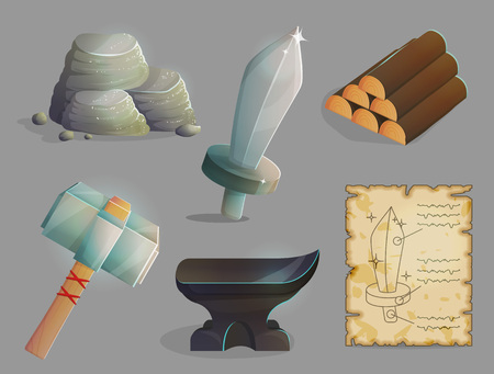 Blacksmith workshop crafting tools, items and materials. Anvil and iron hummer, wood logs, sword blueprints, iron ore. Game and app ui icons.
