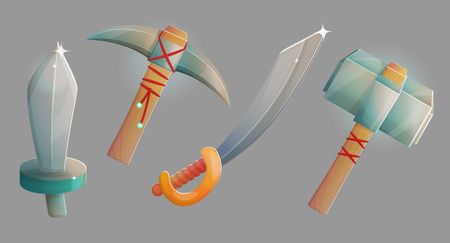 Blacksmith workshop crafts, medieval weapons and ammo, steel iron sword, saber heavy hummer and pickaxe. Game and app ui icons. Illustration