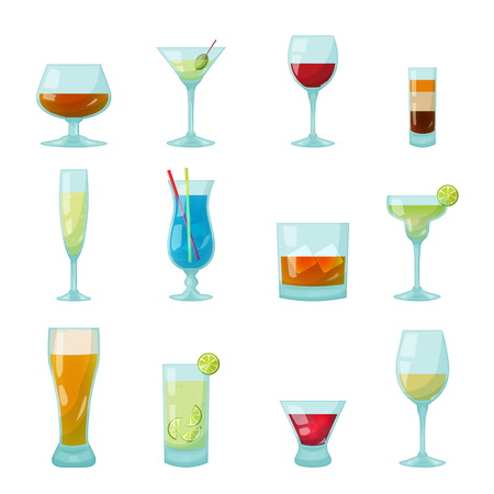 Various kinds of bar glasses with drinks and coctails inside, shot with b-52, blue lagoon, mojito, campari, champagne flute glass, wine. Isolated vector objects.