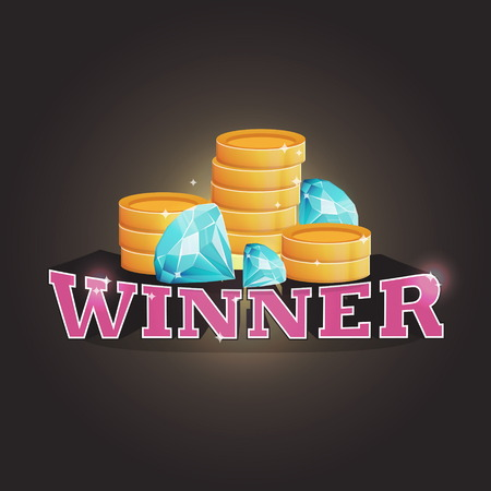 Winner screen vector background with coins and diamonds. Lottery, computer game, treasure quest, promotion coupon winner advertisment. Illustration