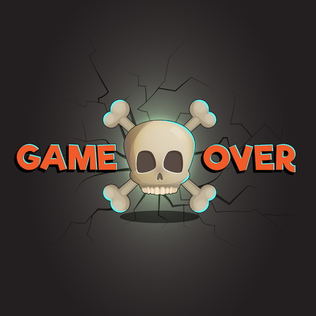 unsuccess: Game over abstract vector game and web background, scull and bones. Loose game fail screen with cracks and decay on background. Illustration