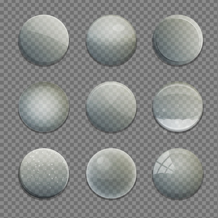 Collection of transparent isolated glass bubble circle app buttons with various shading and texture. UI editable design elements.
