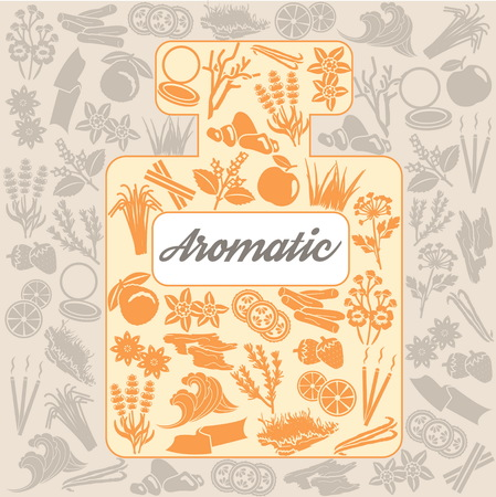 Background with a perfume bottle and a collection of one color icons for aromatic plants, herbas and woods for essense oils production. Perfume fragrance aroma ingredients.