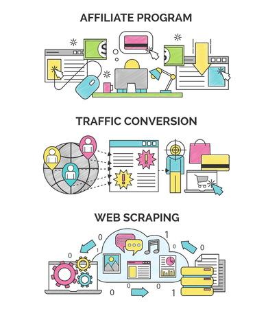 Drie scribble illustraties voor internet marketing en SEO optimalisatie. Affiliate programma, verkeer conversie en web scrapping concepten voor web en design. Stock Illustratie