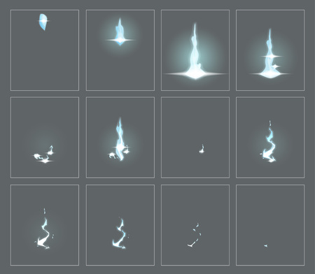 Lightning special effect fx animation frames sprite sheet. Electrical lightning thunderbolt frames for flash animation in games, video and cartoon.