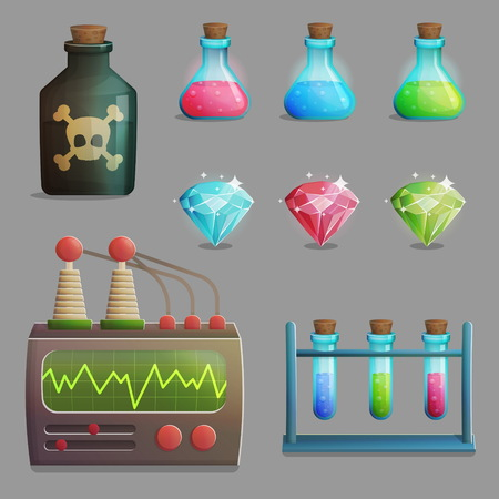 A collection of items for mad evil professor human experiment laboratory design. Test tubes, poison bottle, lab equipment, gemstones.