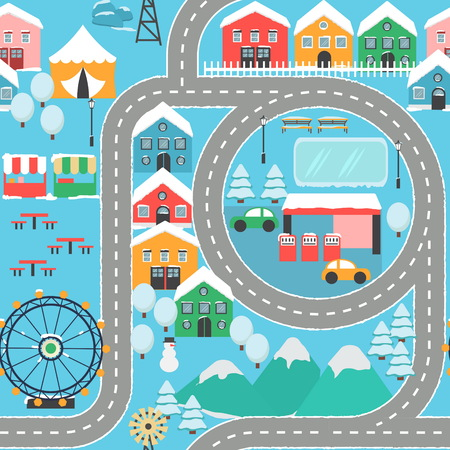 Lovely snowy city landscape car track seamless pattern play mat for children activity and entertainment. Winter city landscape with mountains, park, mall, buildings, plants and endless car road. Illustration