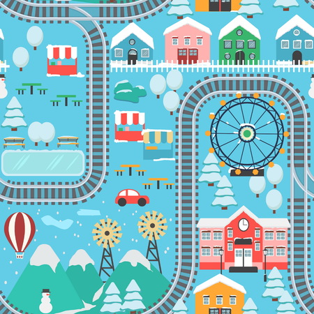 rug map: Lovely snowy city landscape train road seamless pattern play mat for children activity and entertainment.