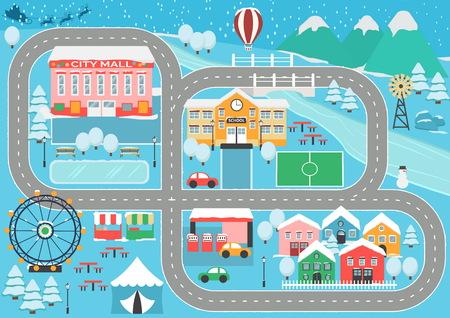Beau tapis de jeu de piste de voiture de paysage de ville enneigée pour l'activité et le divertissement des enfants. Paysage de ville d'hiver avec des montagnes, parc, centre commercial, bâtiments, plantes et route de voiture sans fin.