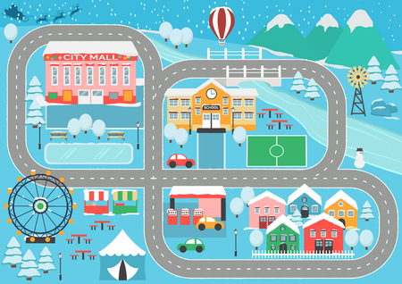 Precioso paisaje nevado de la ciudad del coche track track mat para la actividad de los niños y el entretenimiento. Paisaje de la ciudad de invierno con montañas, parque, centro comercial, edificios, plantas y carretera sin fin.