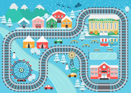 Lovely snowy city landscape train railroad play mat for children activity and entertainment.