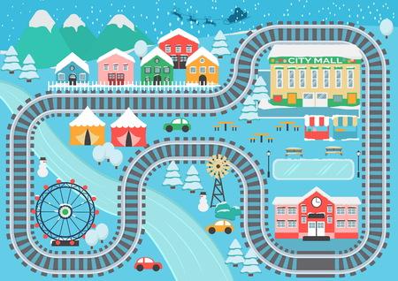 Reizende schneebedeckte Stadtlandschaftszug-Eisenbahnspielmatte für Kindertätigkeit und -unterhaltung.