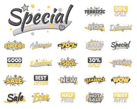 clearence: XXL collection of artistic sale, discount, encouragement and achievement advertising badge stickers. Design elements to advertise special offer, hot sales and clearance proposals. Illustration