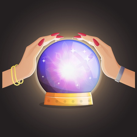 Illustration of a gypsy fortune teller working and making predictions with a magic globe shiny speare with thunders and supernatural glow. Vectores
