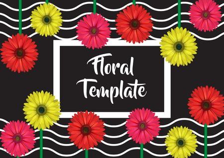 Horizontal banner, card, label, invitation template, floral design decoration, realistic looking gerbera daisy flowers and wavy background.