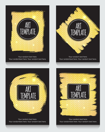 metalic: Modern eclectic flyer, poster, card template with golden background. Vintage dotted shadows, glamourous shiny golden caged background, minimalistic framing and casual text. Illustration