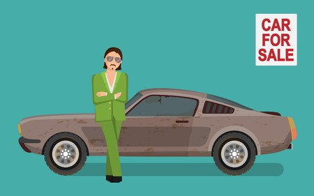 Illustration of a sneaky looking tough gangster man in a green costume selling used dirty and broken car on car sale market, lean against car waiting for client.. Vector Illustration