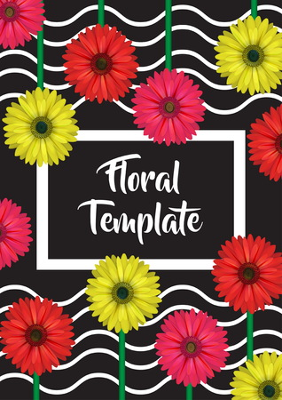 Verical banner, card, label, invitation template, floral design decoration, realistic looking gerbera daisy flowers and wavy background. Illustration